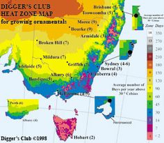 Climate maps to help you choose the right plants for your climate, heat and cold zones, climate guides and growing days map. - The Diggers Club