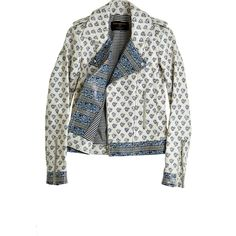 MARTI HORWITZ Block Printed Leather Moto Jacket (335 BRL) ❤ liked on Polyvore featuring outerwear, jackets, tops, coats & jackets, biker jacket, asymmetrical leather jackets, leather moto jacket, side zip jacket and asymmetrical moto jacket