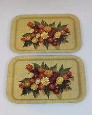 Vintage Metal Floral Design Trays Set of 2 Serving TV Lap Food Mid Century Retro