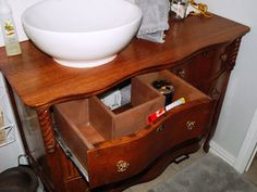 pinterest bathroom vanities out of antiques | Customized functional drawers: