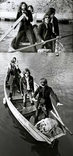 The Beatles in a boat