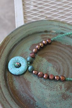 Turquoise Pendant Necklace with Rose Freshwater Pearls by adairya2, $18.00