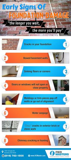 http://kcmaster.com This is a great infographic put together by http://kcmaster.com. For homeowners, foundation damage is one of their worst nightmares. Talk to any homeowner, and you'll find that foundation repair is one of their worst nightmares. A damaged foundation is one of the worst things a homeowner will deal with.