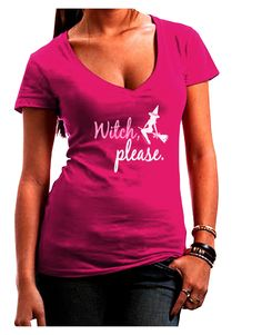 Witch Please Juniors V-Neck Dark T-Shirt