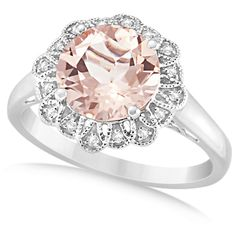 Allurez Morganite Engagement Ring Diamond Accents 14k White Gold... ($885) ❤ liked on Polyvore featuring jewelry, rings, white, white gold engagement rings, white ring, white gold jewelry, 14k jewelry and vintage style engagement rings