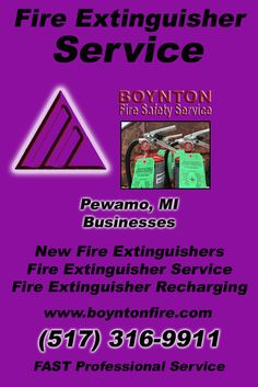 Fire Extinguisher Service Pewamo, MI (517) 316-9911Local Michigan Businesses Discover the Complete Fire Protection Source.  We're Boynton Fire Safety Service.. Call us today!