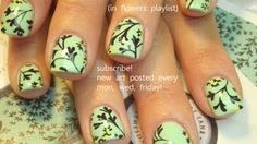 Easy Black flower Nail Art on Short Mint Green Nails, via YouTube. It's got a vintage wall paper feel to it. Very pretty nail art design.