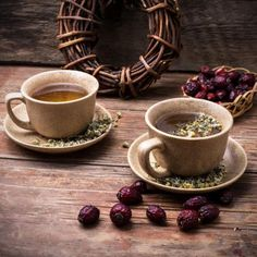 Two ceramic cups brewed tea with rosehip and chamomile amid bundles of licorice root Chocolates, Brewing Tea, Ceramic Cups, Latte, Tea Cups, Ceramics, Tableware, Purpose, Food