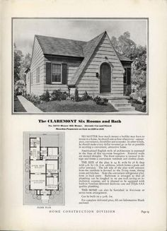Homes of Today~Sears Kit Bungalow Homes, Cottage Homes, Cottage Living, Sims House Design, Small House Design, Sims House Plans, Small House Plans, Vintage House Plans, Vintage Houses