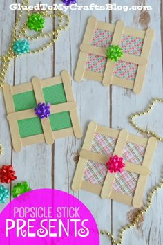 Popsicle Stick Christmas Presents Kid Craft : Popsicle Stick Presents Kid Craft Christmas Arts And Crafts, Fun Arts And Crafts, Winter Crafts For Kids, Preschool Christmas, Christmas Activities, Kids Christmas, Holiday Crafts, Christmas Presents, Popsicle Stick Crafts For Kids