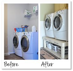 Top 25 Small Laundry Room Makeovers Ideas With Before and After Picture Laundry Stand, Laundry Pedestal, Small Laundry Rooms, Laundry Room Storage, Laundry Baskets, Washer And Dryer Stand, Home Hacks, Home Organization, Organizing Ideas