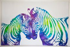 Zebra Love, Melted Crayon Art 24 x 36- I think I can find a way to DIY something like this