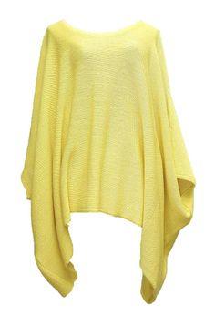 AKH Fashion Labina Sosan Lagenlook megaweiter Strickpullover Überwurf in gelb große Größen bei www.modeolymp.lafeo.de