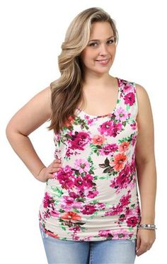plus size floral print tank with lace back