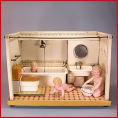 """Deluxe German Tin Dollhouse Bathroom with Porcelain Fixtures, Water Reservoir & Plexiglass Cover 1920s – 1930s Large 1"""" Scale"""