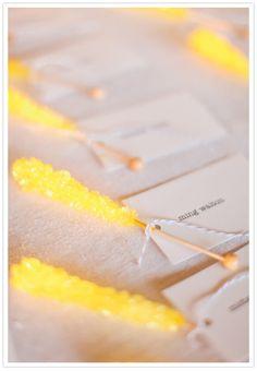 Rock candy escort cards for a carnival wedding Wedding Favours, Wedding Themes, Diy Wedding, Wedding Souvenir, Wedding Ideas, Nautical Wedding, Wedding Bells, Wedding Table, Wedding Decor