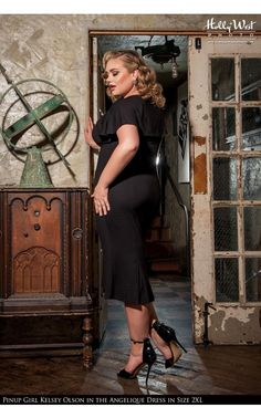 Laura Byrnes- Angelique Dress in Black Ponte de Roma Knit Fabric - Plus Size | Pinup Girl Clothing