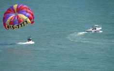 View from hotel BLUE of parasailing.