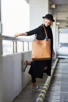 torebka skórzana oryginalna ręcznie robiona duża - ladybuqartstudio - Torby na ramię