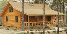 The Carolina Log Home for only $36,000 (Extreme Discount Price)! Can be made form an easy to assemble kit. The plans sell at $299 plus $15 for s/h. Home has 816 sq ft in the first floor & 470 square feet on the 2nd floor, making it a total of 1286 square feet. Main floor is where 2 bedrooms & 1 bath, then the master bedroom & another bedroom are on the upper level & share bathroom.