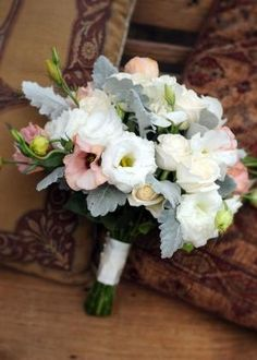 Bouquet of lisianthus, roses and dusty miller. by jillian