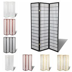 Magshion Furniture Oriental Room Divider Hardwood Shoji Screen, 3-Panel, Black