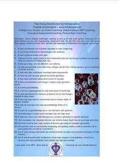 Test HSP voor Volwassenen - meer info voor HSP Coaching  op www.kinderspirit.nl #HSP