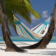 Crafted from pure cotton in the traditional Columbian design, the La Siesta Colombian Caribena Single Hammock is both beautiful and extremely comfortable. Hammock Swing, Hammocks For Sale, Motif Simple, Pouf Design, Aqua Blue, Purple, Cool Tools, Favorite Person, Hammocks