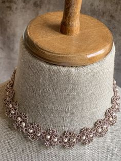 """""""Masha"""" Rose Quartz Necklace – The French Needle Tatting Necklace, Tatting Jewelry, Mini Roses, Diy Crafts Jewelry, Resin Flowers, Quartz Necklace, Rose Quartz, Custom Jewelry, Chokers"""