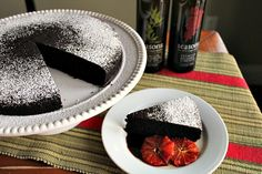 Seasons+Dessert:+Blood+Orange+Olive+Oil+Chocolate+Cake+with+Black+Cherry+Balsamic+Reduction
