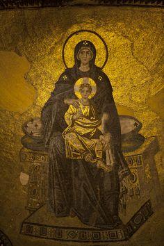 Virgin Mary and Child Christ, The Apse Mosaic, Hagia Sophia, Istanbul, Turkey