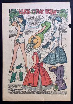 Early Katy Keene Comic Book Paper Dolls, Bill Woggon Art, Katy Irish Fashions | eBay