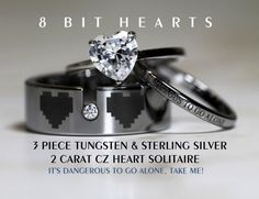anillo Legend Of Zelda 8 Bit Hearts- Tungsten With CZ and 925 Sterling Silver 2 Carat TW CZ Heart Wedding Ring 3 piece Set, 8mm Men's ring