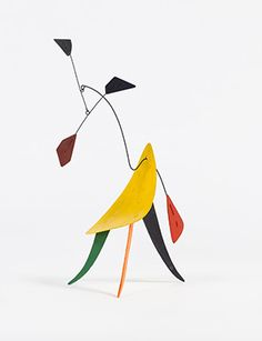 Alexander Calder, Untitled, c. 1942. Sheet metal, wire, and paint, 13 1/2 x 8 x…