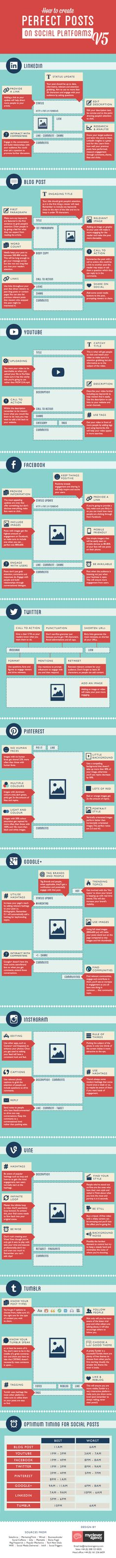 "How To Create Perfect Posts on Most Popular Social Platforms [ 3 Infographics ]. The following are the latest in a series of infographics, from ""My Clever Agency,"" that are how-to's to create the perfect post on all of the most popular social media 'channels' (Facebook, Twitter, Google+, Pinterest, LinkedIn, YouTube, Instagram, Vine, Tumblr, and Blogs). Many tips and tricks presented."