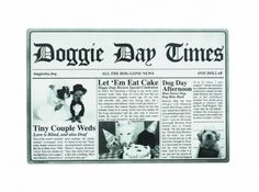 """""""Doggie Day Times"""" Newspaper-Style Rubber Placemat on sale @Coupaw"""