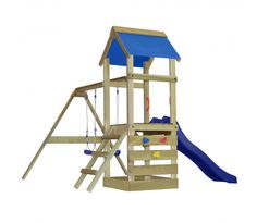 Wooden Playground with Ladder, Slide and Swings S