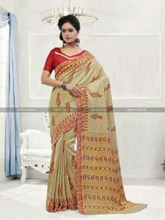 Beige N Red Pashmina Printed Casual Saree