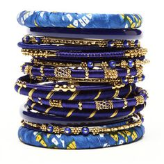 Blue and Gold Bracelets