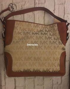 NEW Michael Kors MK Jacquard Leather Shoulder Bag Large Handbag Beige Camel #MichaelKors #ShoulderBag