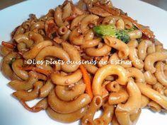 Les plats cuisinés de Esther B: Macaroni au poulet façon Lo Mein