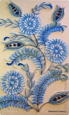 Картина панно рисунок Квиллинг По мотивам гжельской росписи или бело-голубой орнамент Бумажные полосы фото 13