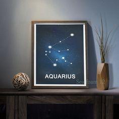 Aquarius Zodiac Constellation Print  blue  Wall decor by SEAFOAM12