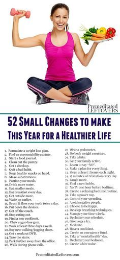 Trying to think of resolutions or changes to make for the new year? Use these ideas to make 52 small changes for a healthier life!