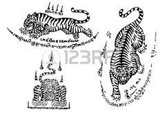 Tiger traditional thai art Tattoo Ancient