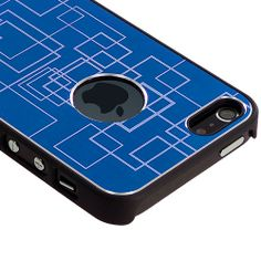 Blue Metal Grid Aluminum Metal Hard Case Cover for Apple iPhone 5 / 5S :: CellPhoneCases.com