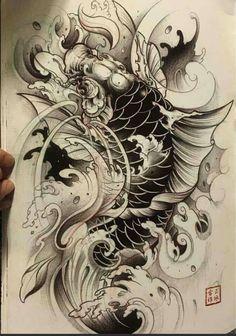 The most beautiful carp tattoos - Carp Tattoo, Koi Dragon Tattoo, Pez Koi Tattoo, Carp Tattoo, Hannya Tattoo, Dragon Fish, Japanese Koi Fish Tattoo, Koi Fish Drawing, Japanese Tattoo Designs, Fish Drawings