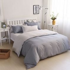 Warm Embrace Bedding Comforter Set Polka-dot Bed in a Bag,Duvet Cover and Pillow Shams and Flat Sheet and Duvet (White),King Piece Duvet Bedding Sets, Luxury Bedding Sets, Linen Bedding, Bed Linens, Cute Duvet Covers, Polka Dot Bedding, Black Bed Linen, Stylish Beds, Buy Bed