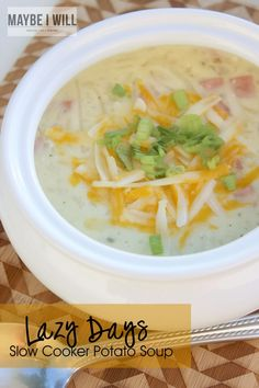 Lazy Days Slow Cooker Potato Soup! The easiest and yummiest throw together soup! #simplypotatoes