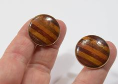 Handsome Vintage Cuff Links made of Rare Woods Marquetry Inlay by belleofnewyork315 on Etsy